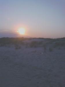 The setting sun . . .